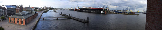 Panoramic of Hamburg harbor from an office balcony.