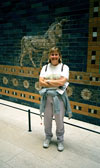 Shelby in front of processional gate at Pergamon Museum.